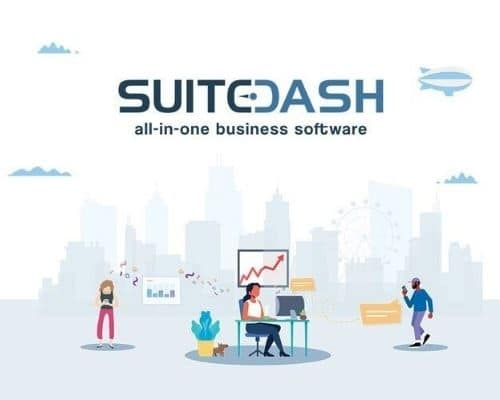 SuiteDash all in one software cartoon cover image of people working.
