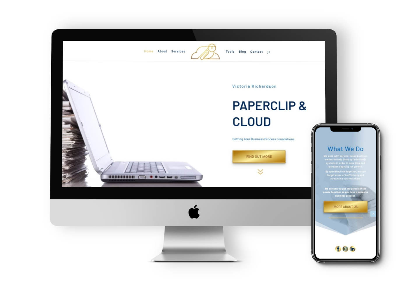 Mockup of website design for Paperclip and Cloud, showing mobile and desktop views